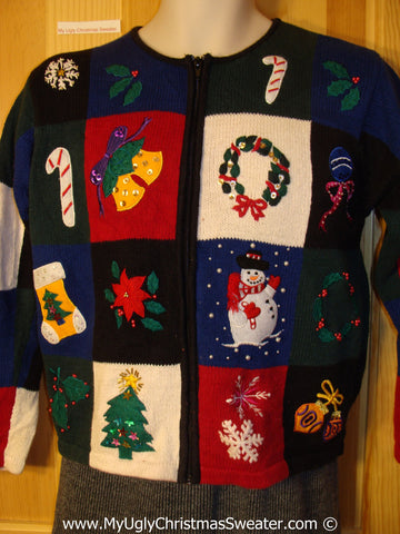 Child (or XXS adult) Tacky Christmas Sweater Party Ugly Sweater with Grid of Festive Fun (f978)