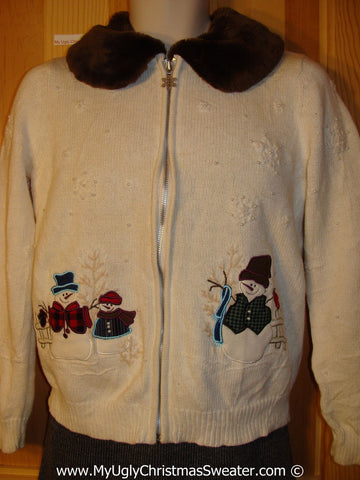 Tacky Christmas Sweater Party Ugly Sweater with Furry Collar and Bling Bead Snow Accents and  Snowmen (f980)