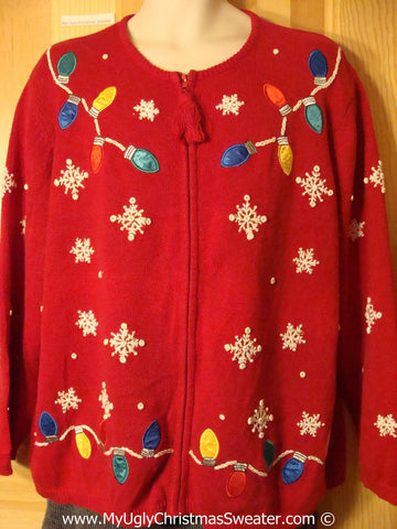 Tacky Christmas Sweater Party Ugly Sweater with Festive Strings of Colorful Lightbulbs and Snow. Great Size for Women or Mens XXL / XXXL (f981)