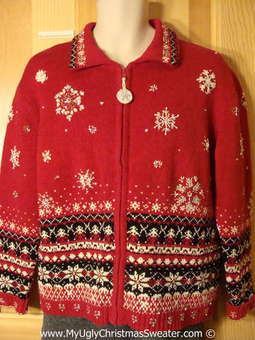 Tacky Christmas Sweater Party Ugly Sweater with Nordic Snowflake Pattern on Front, Back, and Sleeves (f982)
