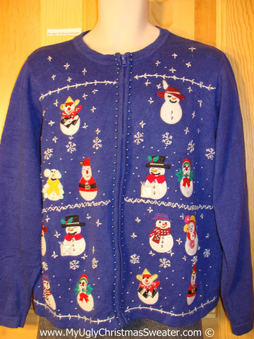 Tacky Christmas Sweater Party Ugly Sweater with Snowman Friends and Bling Accents (f983)