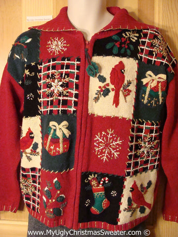 Tacky Christmas Sweater Party Ugly Sweater with Plaid Grids and Festive Cardinal Birds and Gifts (f986)