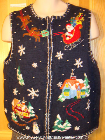 Tacky Christmas Sweater Party Ugly Sweater Vest with Santa and Reindeer and a Winter Wonderland Town  (f987)