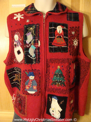 Tacky Christmas Sweater Party Ugly Sweater Vest with Plaid Collar and Crafty Patchwork Design of Snowman, Skates, Tree, and St. Nick  (f989)