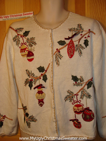 Tacky Ugly Christmas Sweater with Bling Ivy and Ornaments (f98)