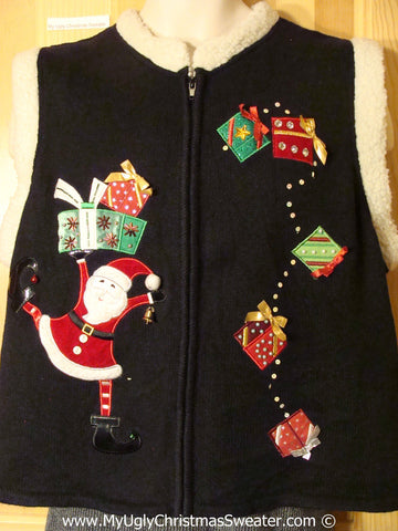 Tacky Christmas Sweater Party Ugly Sweater Vest with Bling Santa in Candy Cane Stockings and Bling Gifts (f990)