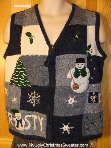 Tacky Christmas Sweater Party Ugly Sweater Vest with FROSTY the Snowman (f991)