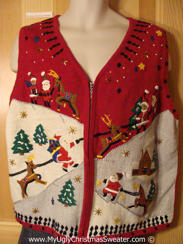Tacky Christmas Sweater Party Ugly Sweater Vest with Santa and Reindeer in a Winter Wonderland (f992)