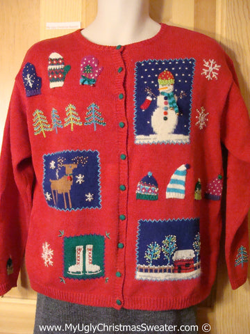 Tacky Christmas Sweater Party Ugly Sweater with Crafty Patchwork Reindeer, Snowman, Skates, and Winter Wonderland House (f995)