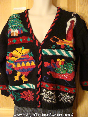 Tacky Christmas Sweater Party Ugly Sweater with 80s Horrid Candle, Ornaments, Sleigh, Tree, Ivy and Snowflake. Ivy on Back Too. (f996)