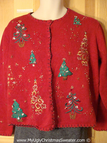 Tacky Christmas Sweater Party Ugly Red Sweater with Bead Bling Trees (f997)