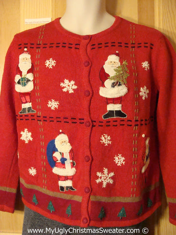 Tacky Christmas Sweater Party Ugly Sweater with festive Snowflakes and Santas (f998)