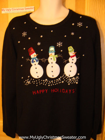 Tacky Ugly Christmas Sweater Three Jolly Snowmen (f9)