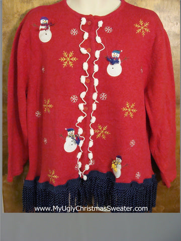 Ugly Christmas Jumper with Wild Blue Fringe Trim
