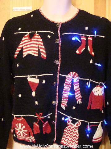 Light Up Christmas Sweater Winter Clothesline