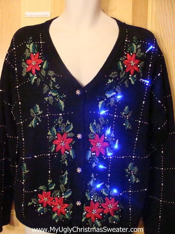 Light Up Christmas Sweater Red Poinsettias and Ivy