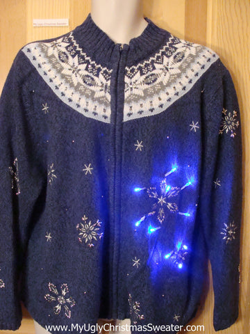 Light Up Christmas Sweater Nordic Snow