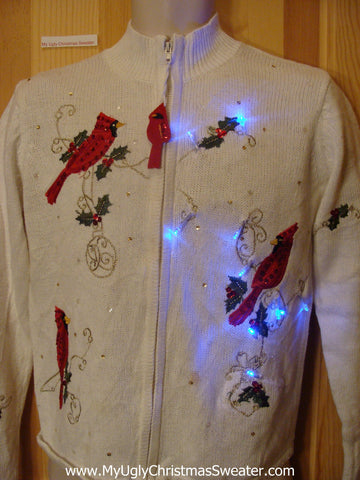 Light Up Christmas Sweater Red Cardinal Birds