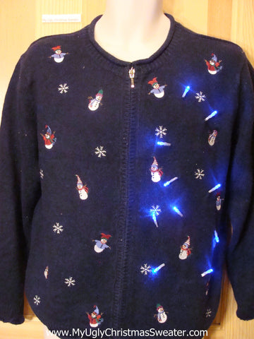Light Up Christmas Sweater Toppling Snowmen