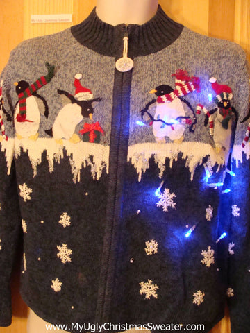Light Up Christmas Sweater Penguins Ice and Snow