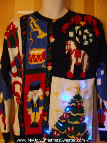 Tacky Ugly Christmas Sweater 80s Style Two Sided Holy Grail of Ugly with Lights  (g100)