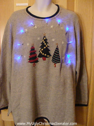 Light Up Christmas Sweater Trees Womens Mens XXXL
