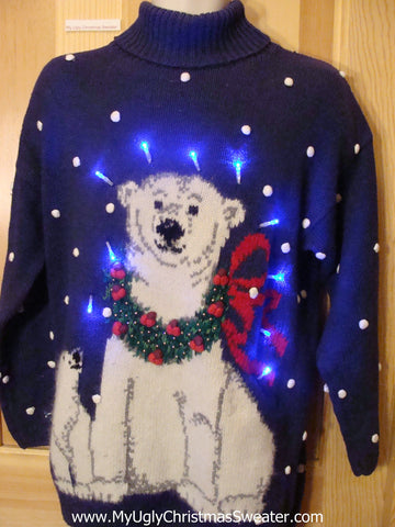 Light Up Christmas Sweater Polar Bear PomPom Snow