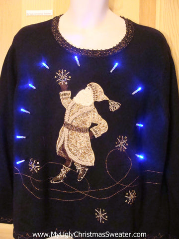 Light Up Christmas Sweater Gold Santa and Snow