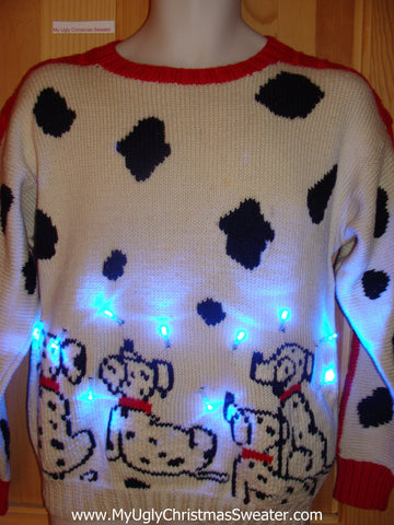 Light Up Christmas Sweater Dalmation Dog 80s Pullover