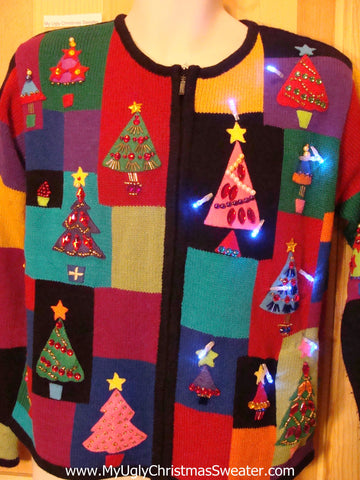 Light Up Christmas Sweater Colorblock Bling Trees