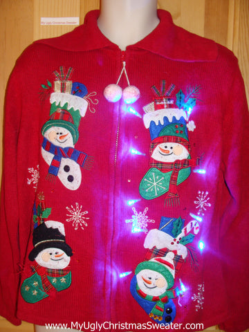 Light Up Christmas Sweater Dangling PomPom Zipper Pull