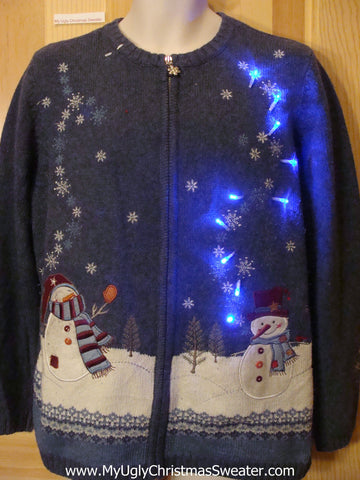 Light Up Blue Christmas Sweater with Snowmen