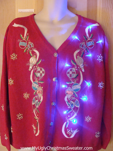 Light Up Christmas Sweater Ribbons with Ornaments