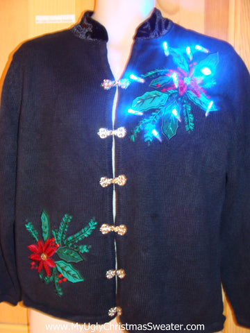 Light Up Christmas Sweater Poinsettias and Ivy