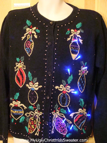 Light Up Christmas Sweater Bling Bead Ornaments