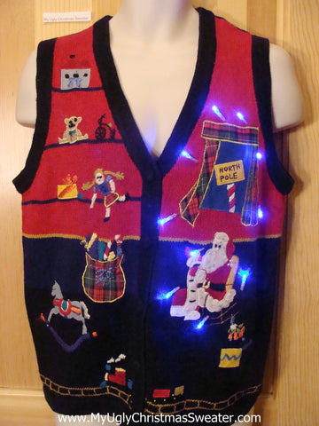 Light Up Christmas Sweater Vest with Santa and North Pole
