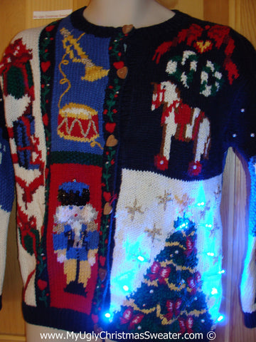 Tacky Ugly Christmas Sweater 80s Style Two Sided Holy Grail of Ugly with Lights  (g102)