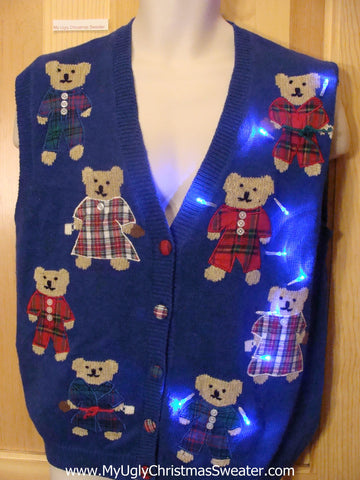 Light Up Christmas Sweater Vest Teddy Bears in Pajamas
