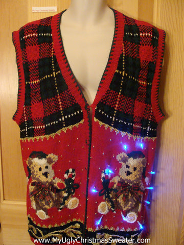 Light Up Christmas Sweater Vest with Teddy Bears
