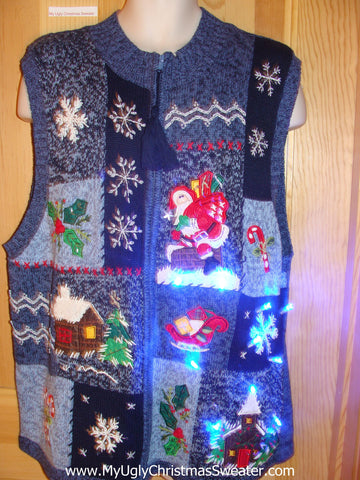 Light Up Blue Christmas Sweater Vest with Snowflakes