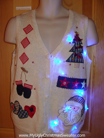 Light Up Christmas Sweater Best with Plaid Tree
