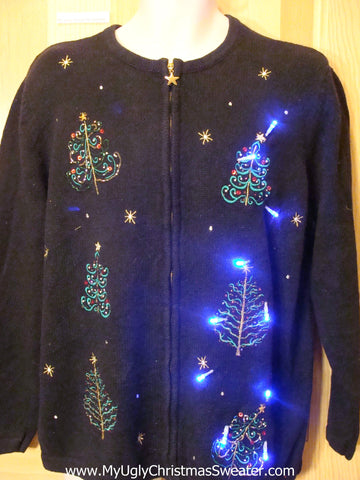 Light Up Christmas Sweater Bling Holiday Trees