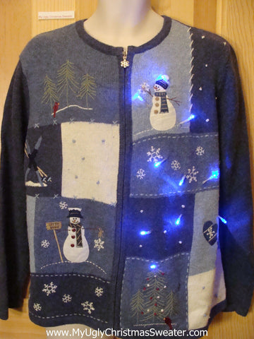 Light Up Blue Christmas Sweater with Snowmen and Snowflakes