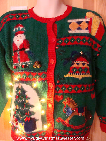 Tacky Ugly Christmas Sweater 80s Style Cardigan with Lights  (g103)