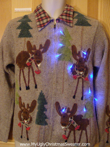 Light Up Brown Christmas Sweater with Funny Reindeer