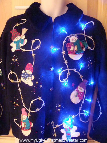 Light Up Christmas Sweater Flying Snowmen at Night