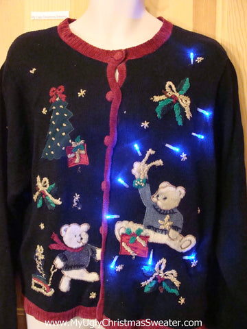 Light Up Christmas Sweater Bear, Tree, and Ivy
