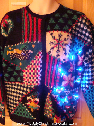 Holy Grail of Ugly Light Up Christmas Sweater 2sided