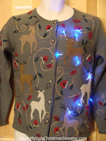 Light Up Christmas Sweater Reindeer Front and Back