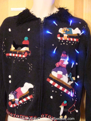 Light Up Christmas Sweater Penquin Bears on Candycane Sleds